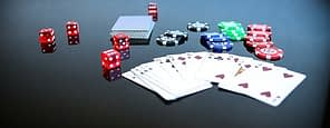 cards, dice and chips